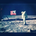 Buzz Aldrin and the American flag