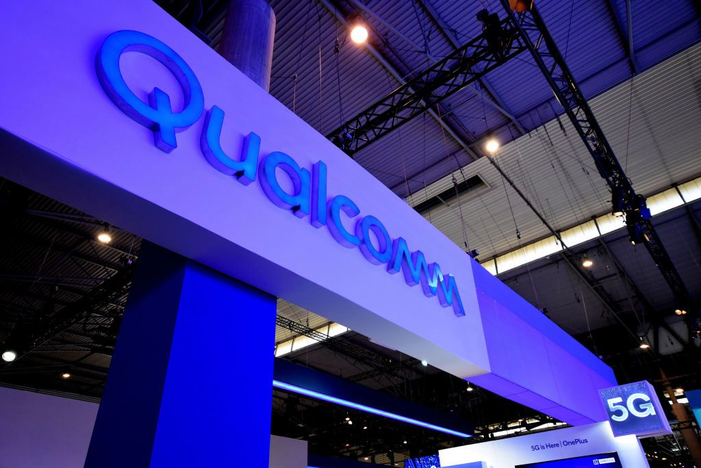 Logo of the Qualcomm brand with 5G technology seen during